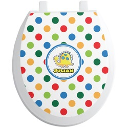 Dots & Dinosaur Toilet Seat Decal (Personalized)