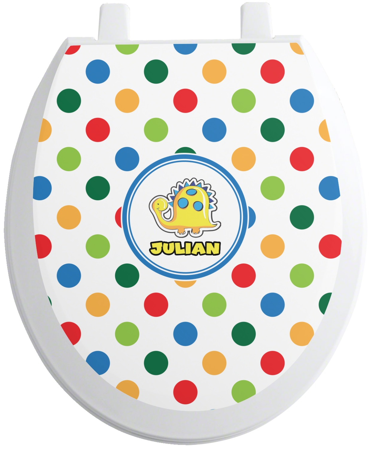 Dots Dinosaur Toilet Seat Decal Round Personalized
