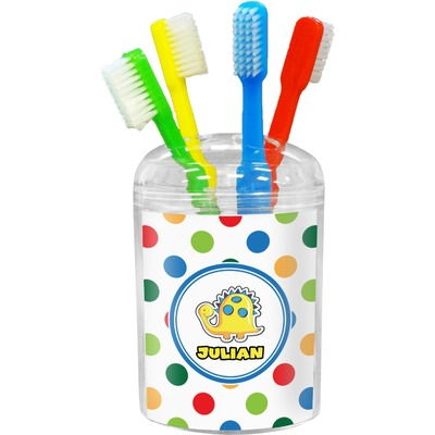 Dots & Dinosaur Toothbrush Holder (Personalized)