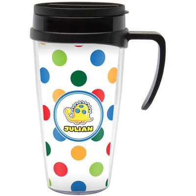 Dots & Dinosaur Travel Mug with Handle (Personalized)