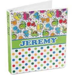 Dinosaur Print & Dots 3-Ring Binder (Personalized)