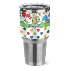 Dinosaur Print & Dots Stainless Steel Tumbler - 30 oz (Personalized)