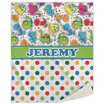 Dinosaur Print & Dots Sherpa Throw Blanket (Personalized)