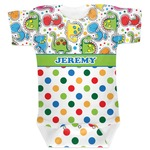 Dinosaur Print & Dots Baby Bodysuit (Personalized)