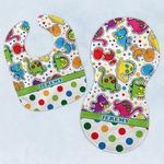 Dinosaur Print & Dots Baby Bib & Burp Set w/ Name or Text