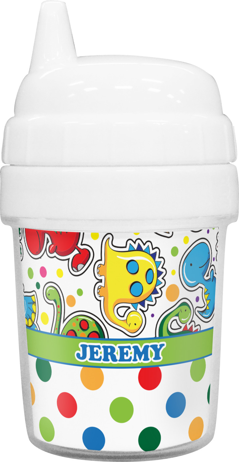 e182d8720cd Dinosaur Print & Dots Baby Sippy Cup (Personalized)