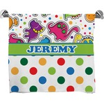 Dinosaur Print & Dots Bath Towel (Personalized)
