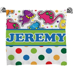 Dinosaur Print & Dots Full Print Bath Towel (Personalized)