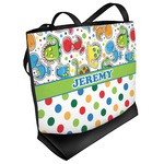 Dinosaur Print & Dots Beach Tote Bag (Personalized)