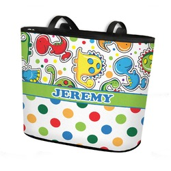 Dinosaur Print & Dots Bucket Tote w/ Genuine Leather Trim (Personalized)