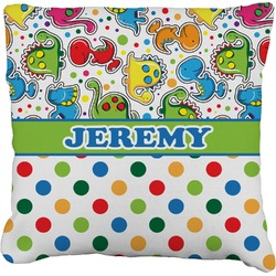 "Dinosaur Print & Dots Faux-Linen Throw Pillow 16"" (Personalized)"