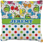 Dinosaur Print & Dots Faux-Linen Throw Pillow (Personalized)