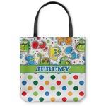 Dinosaur Print & Dots Canvas Tote Bag (Personalized)