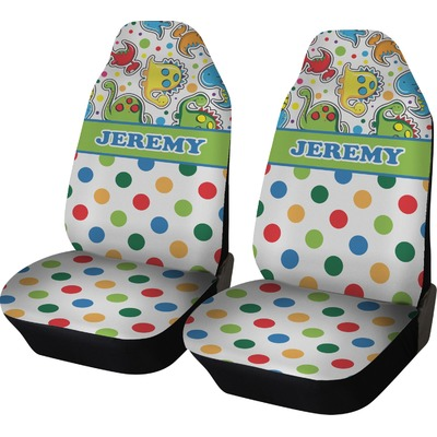 Dinosaur Print & Dots Car Seat Covers (Set of Two) (Personalized)