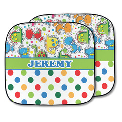 Dinosaur Print & Dots Car Sun Shade - Two Piece (Personalized)