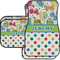 Dinosaur Print & Dots Car Floor Mats Set - 2 Front & 2 Back (Personalized)