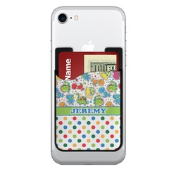 Dinosaur Print & Dots 2-in-1 Cell Phone Credit Card Holder & Screen Cleaner (Personalized)
