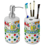 Dinosaur Print & Dots Bathroom Accessories Set (Ceramic) (Personalized)