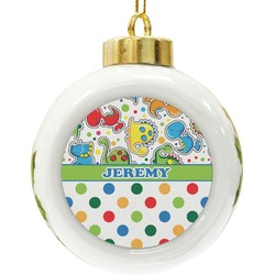 Dinosaur Print & Dots Ceramic Ball Ornament (Personalized)