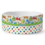 Dinosaur Print & Dots Ceramic Dog Bowl (Personalized)