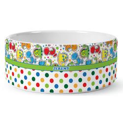 Dinosaur Print & Dots Ceramic Pet Bowl (Personalized)