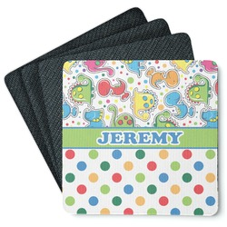 Dinosaur Print & Dots 4 Square Coasters - Rubber Backed (Personalized)