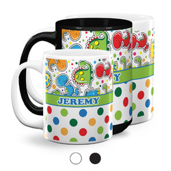 Dinosaur Print & Dots Coffee Mugs (Personalized)