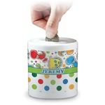 Dinosaur Print & Dots Coin Bank (Personalized)