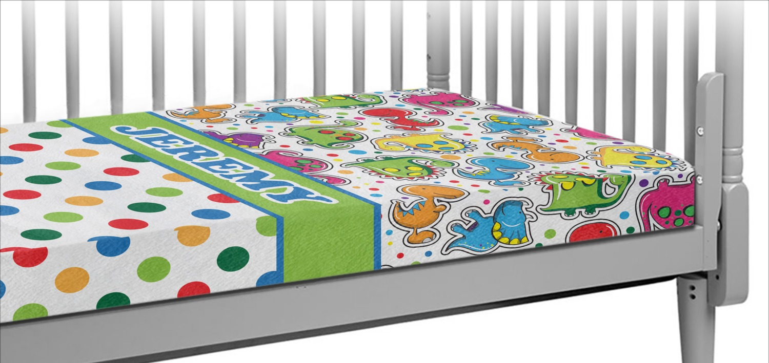 Dinosaur Print Amp Dots Crib Fitted Sheet Personalized