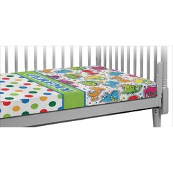 Dinosaur Print & Dots Crib Fitted Sheet (Personalized)