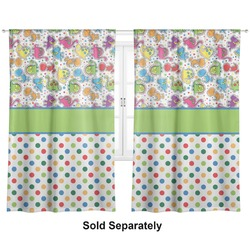 "Dinosaur Print & Dots Curtains - 40""x84"" Panels - Unlined (2 Panels Per Set) (Personalized)"