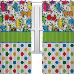 Dinosaur Print & Dots Curtains (2 Panels Per Set) (Personalized)