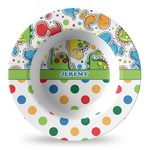Dinosaur Print & Dots Plastic Bowl - Microwave Safe - Composite Polymer (Personalized)