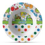 Dinosaur Print & Dots Plastic Bowl - Microwave Safe - Composite Polymer (Personalized)