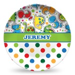 Dinosaur Print & Dots Microwave Safe Plastic Plate - Composite Polymer (Personalized)