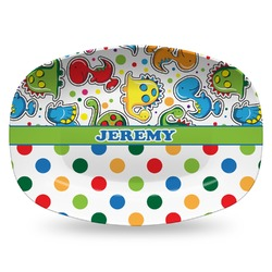 Dinosaur Print & Dots Plastic Platter - Microwave & Oven Safe Composite Polymer (Personalized)