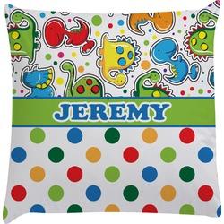 Dinosaur Print & Dots Decorative Pillow Case (Personalized)