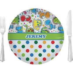 """Dinosaur Print & Dots 10"""" Glass Lunch / Dinner Plates - Single or Set (Personalized)"""