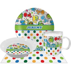 Dinosaur Print & Dots Dinner Set - 4 Pc (Personalized)