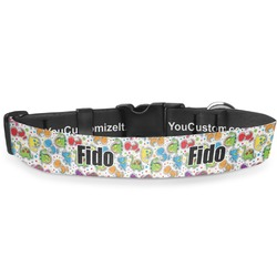 Dinosaur Print & Dots Deluxe Dog Collar (Personalized)