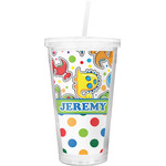 Dinosaur Print & Dots Double Wall Tumbler with Straw (Personalized)