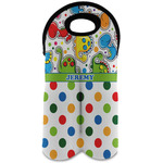 Dinosaur Print & Dots Wine Tote Bag (2 Bottles) (Personalized)