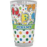 Dinosaur Print & Dots Drinking / Pint Glass (Personalized)