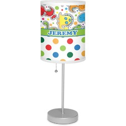 """Dinosaur Print & Dots 7"""" Drum Lamp with Shade (Personalized)"""