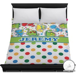 Dinosaur Print & Dots Duvet Cover (Personalized)