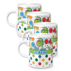 Dinosaur Print & Dots Espresso Mugs - Set of 4 (Personalized)