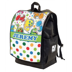 Dinosaur Print & Dots Backpack w/ Front Flap  (Personalized)