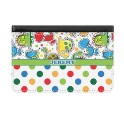 Dinosaur Print & Dots Genuine Leather ID & Card Wallet - Slim Style (Personalized)