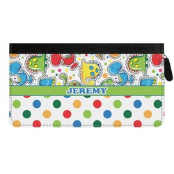 Dinosaur Print & Dots Genuine Leather Ladies Zippered Wallet (Personalized)
