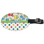 Dinosaur Print & Dots Genuine Leather Oval Luggage Tag (Personalized)